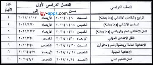 جدول مقترح إمتحانات الصف الرابع الإبتدائي حتى الصف الثاني الإعدادي - محافظة القاهرة