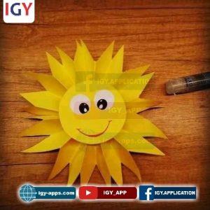 طريقة صنع شمس من ورق ملون
