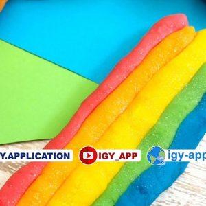 طريقة صنع صلصال بألوان قوس قزح 🌈 - دقيق