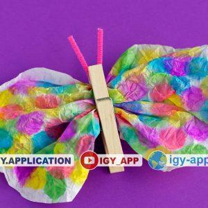 طريقة صنع فراشة جميلة من ورق ومشبك 🦋